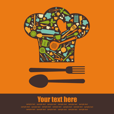 food background: cooking book cover.