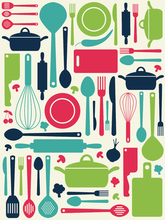 food backgrounds: cute kitchen pattern.  Illustration