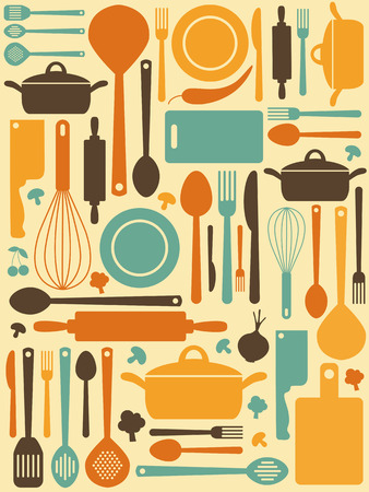vegetable cook: cute kitchen pattern.