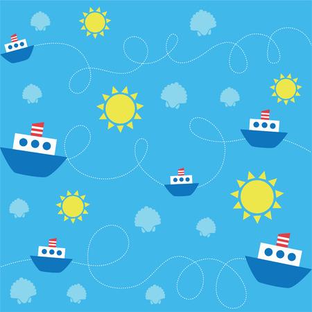 childlike: cute childlike sea pattern.