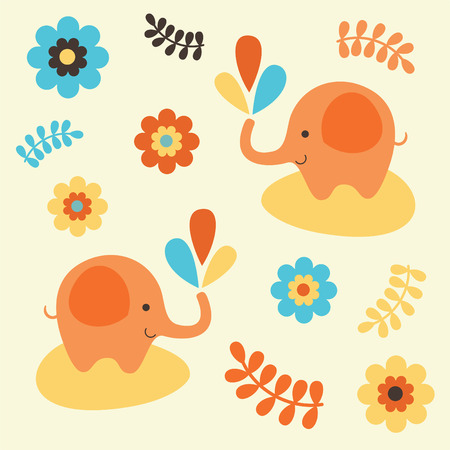 childlike pattern with cute elephant.