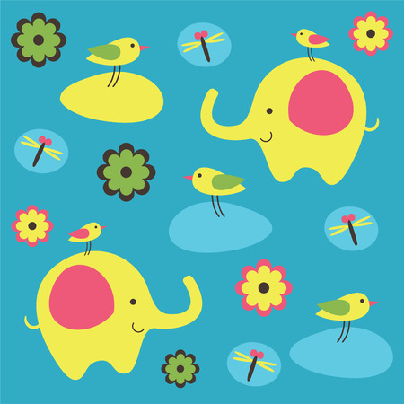childlike pattern with cute elephant. Vector