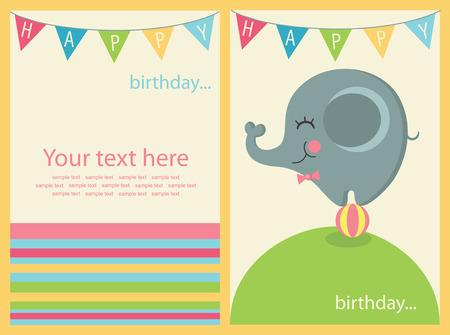 birthday invite: cute happy birthday card. Illustration