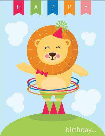 leon bebe: tarjeta de felicitaci�n linda. Vectores