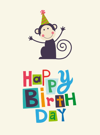 birthday cartoon: cute happy birthday card with fun monkey.