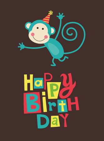 birthday invite: cute happy birthday card with fun monkey. Illustration