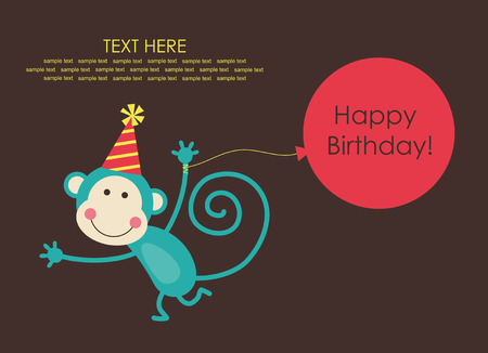 kids birthday party: cute happy birthday card with fun monkey.