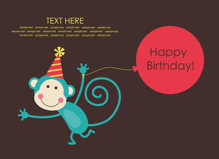 cute happy birthday card with fun monkey.