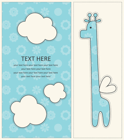 baby announcement card: baby boy announcement card with cute giraffe.  Illustration