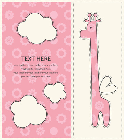 baby girl announcement card with cute giraffe.  Vector