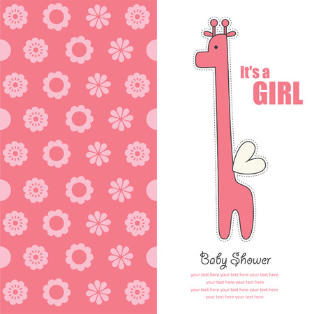 baby announcement card: baby girl announcement card with cute giraffe.