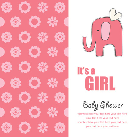 baby girl announcement card with cute elephant.  Vector