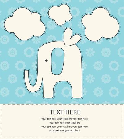 baby elephant: baby boy announcement card with cute elephant.