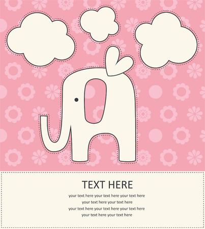 baby girl announcement card with cute elephant.