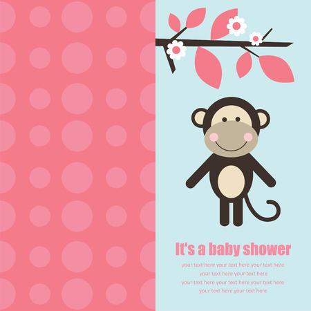 cute monkey: baby shower card with cute monkey.