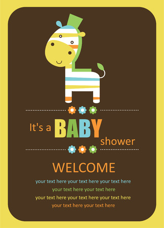 cute baby shower card with cute zebra.  Vector