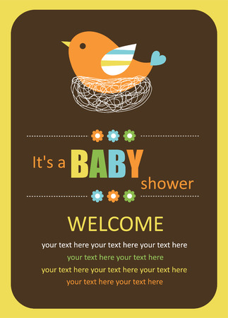 cute baby shower card with cute bird. Illustration