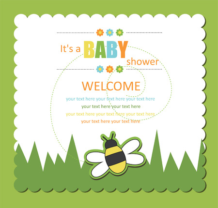 bee birthday party: baby shower card with cute bee.  Illustration