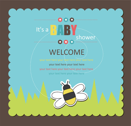 cute boy: baby shower card with cute bee.  Illustration
