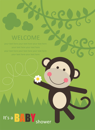 baby shower card with cute monkey.  Vector