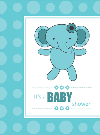 baby announcement card: cute baby boy announcement card with elephant.  Illustration
