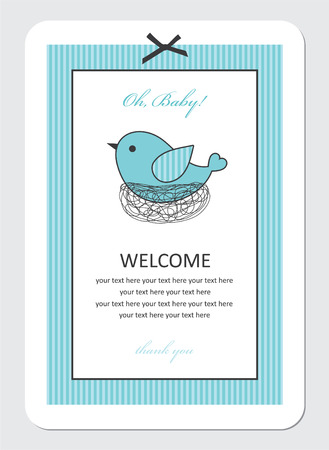 cute baby boy shower with bird.