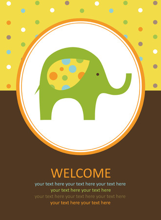 cute card with elephant.  Vector