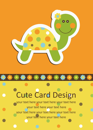 baby cartoon: cute baby card with nice turtle.