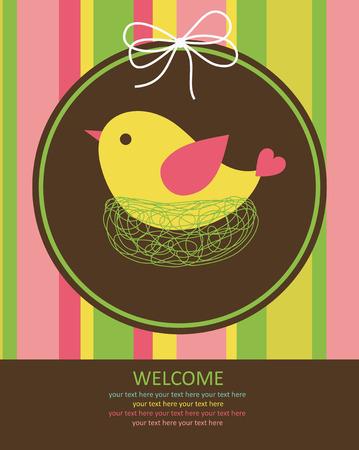 cute baby card with nice bird.  Vector