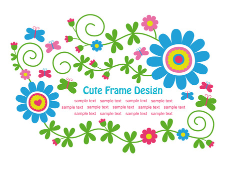 baby flower: cute floral frame design. vector illustration Illustration
