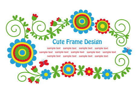 animal border: cute floral frame design.