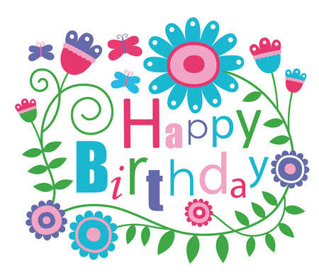 flores de cumpleaños: tarjeta de cumpleaños feliz lindo. Vectores