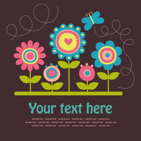 flower garden: cute greeting card.  Illustration