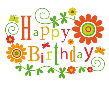 cute happy birthday card. Illustration