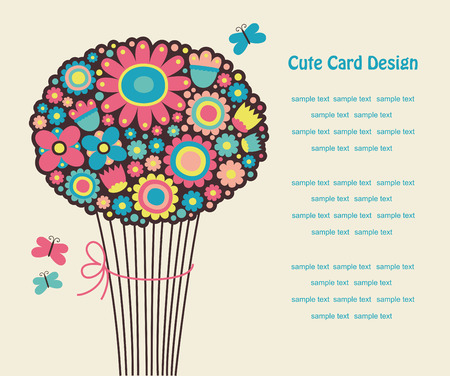 bouqet: cute greeting card with cute bouqet.  Illustration