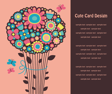 nice greeting card with cute bouqet. Vector