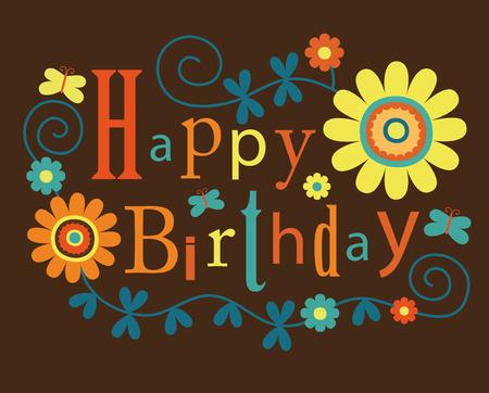 kids birthday party: cute happy birthday card.