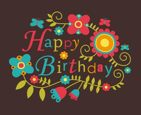 happy birthday party: tarjeta de cumplea�os feliz lindo. Vectores