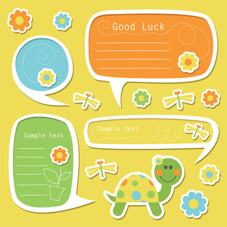 set of cute childlike text frames. Vector