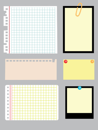 breach: set of note papers.  Illustration