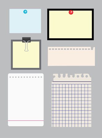 set of note papers.  Illustration
