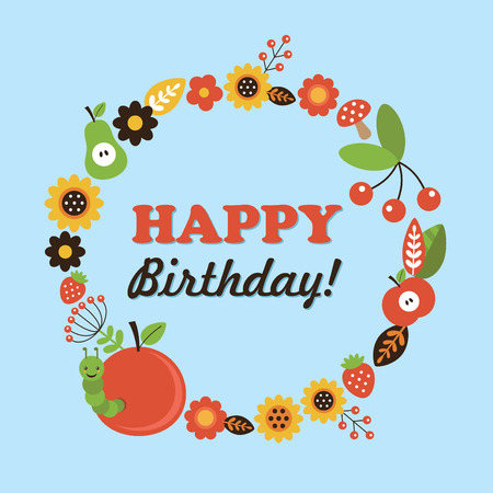 summer birthday card. vector illustration Vector