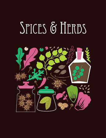 spices and herbs card design. vector illustration Vector