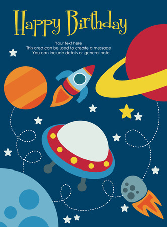 space shuttle: space happy birthday card design. vector illustration