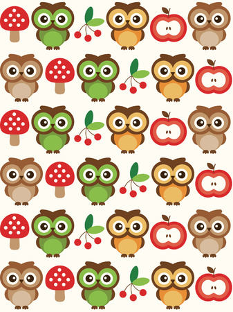 owl cute: baby seamless pattern design with cute owl. vector illustration