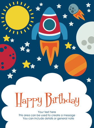kids birthday party: space happy birthday card design. vector illustration