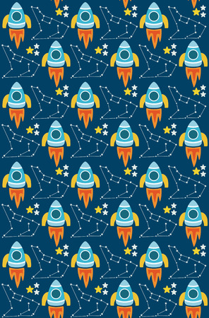 cute seamless space pattern design. vector illustration Vector