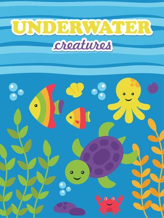scalar: underwater card design. vector illustration