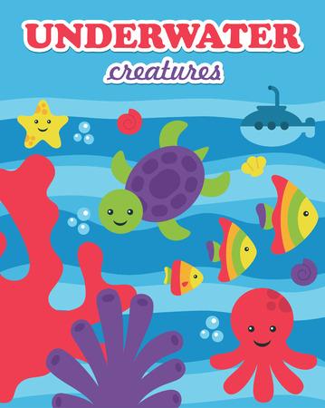 underwater card design. vector illustration Vector