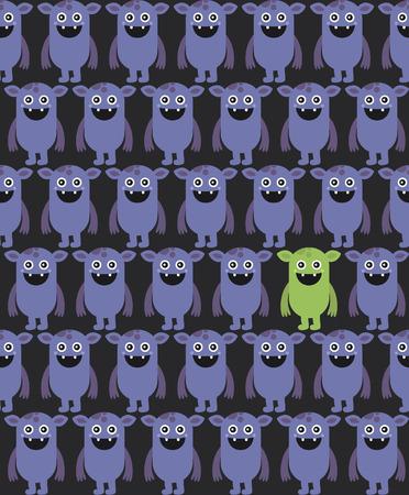 pattern monster: design seamless mostro. illustrazione vettoriale